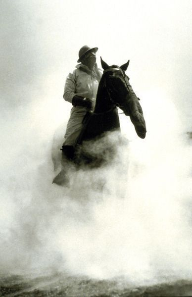 Soldier and Horse wearing a gas mask during the Battle of Verdun, 1916. Old Pics Archive.