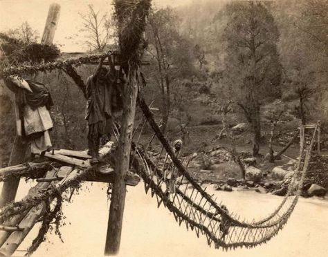 A Rope Bridge across a River in India...1870. Old Pics Archive.