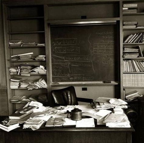 Einstein's office in Princeton, New Jersey, photographed on the day of his death, April 18, 1955. Historical Pics.