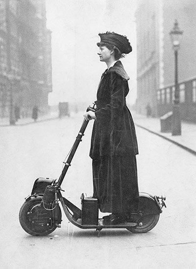 Highg technology A woman driving an Autoped, ca. 1916. Historical Pics.