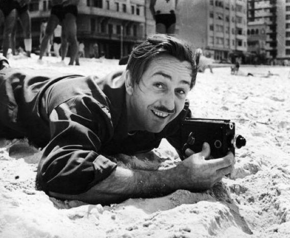 Walt Disney filming on a beach in Rio de Janeiro, 1941.