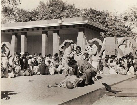 Seconds after the murder of Mahatma Gandhi. Photo by Nathuram Godse, 1948. Classic Pics.