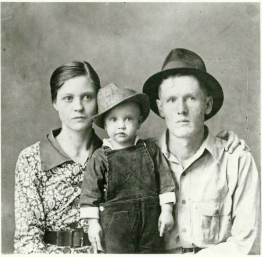 The earliest known photo of Elvis Presley with parents Gladys and Vernon, 1937. Old Pics Archive.