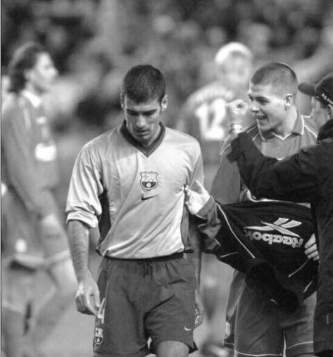 A young Steven Gerrard asking Pep Guardiola to shake his hand after beating Barcelona 1-0 back in 2001. Mood Vintage.