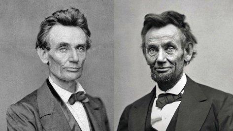 O preço da Presidência- o primeiro e o último retrato de Lincoln como presidente, em maio de 1860 e fevereiro de 1865, respectivamente. Fotos de fatos.