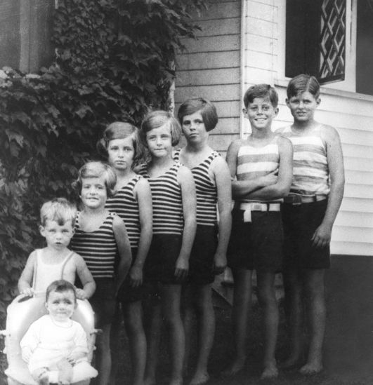 The eight Kennedy children. 1928. Old Pics Archive.