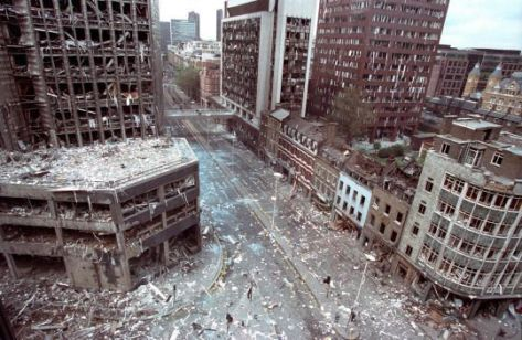 Wormwood Street, London after the IRA had detonated a truck bomb on 24 April, 1993. Old Pics Archive.
