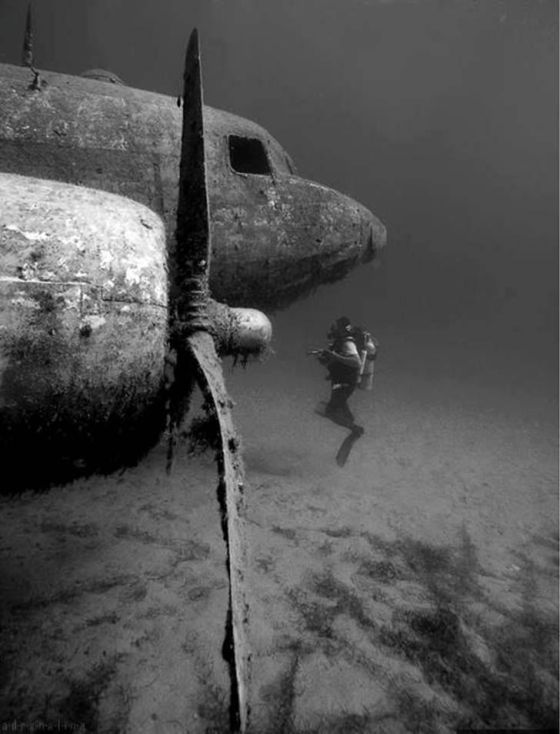 Diver examining an old shipwrecked plane. Historical Pics.