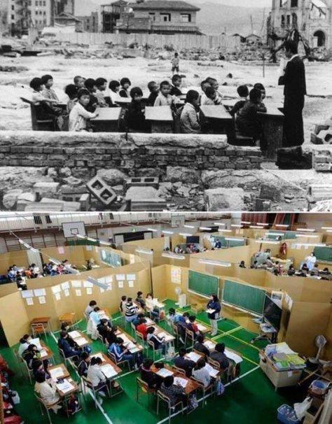 Japão um mês após o ataque de Hiroshima em 1945 e Japão um mês após o tsunami em 2011. Fotos de fatos.