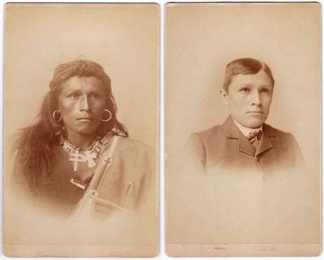 Navajo youth Tom Torlino as he entered the Carlisle Indian Industrial School in 1882, and again 3 years later. History in Pictures.