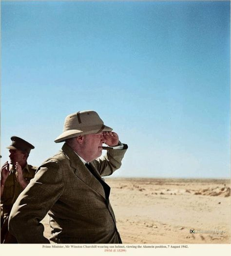 Prime Minister Winston Churchill at El Alamein, (Egypt, 1942). Classic Pics.