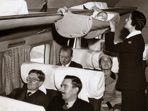This is how babies used to fly on airplanes. Mood Vintage.